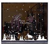 Pegatinas de Navidad, navidad decoracion Navidad Copo de Nieve, pegatinas de pared calcomanías de ventanas Escaparate, Tienda, Oficina ( 2 hojas X 30 * 90cm ) (C)