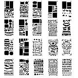 VABNNER Kit di Stencil e Disegno Stencil Pittura Kit Journal Bullet Stencil in Plastica Drawing Template con Diversi Modelli Per diari, giornali, lavori di scrapbooking e fai da te (20 pezzi)