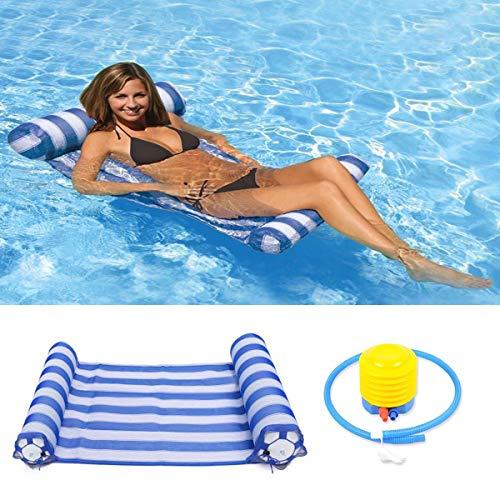 LATIT Wasserhängematte Luftmatratze Pool Lounge Aufblasbare Pool Hängematte Luftmatratze Kopf Luftmatratze Pool Erwachsene -Blau