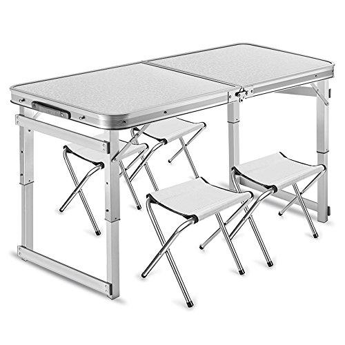 Mit Folding Picknick-tisch Stühlen (LVZAIXI Portable Klapptisch mit 4 Stühlen Set für Camping Party Picknick Garten Dining ( Farbe : Weiß ))