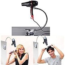 Asciugacapelli Holder, SUNNIOR regolabile in acciaio inox capelli del metallo Dryer rack con ventose per parete / vetro / mattonelle, 360 Rotary tubo, libera le mani e ti permettono di creare una forma soddisfacente