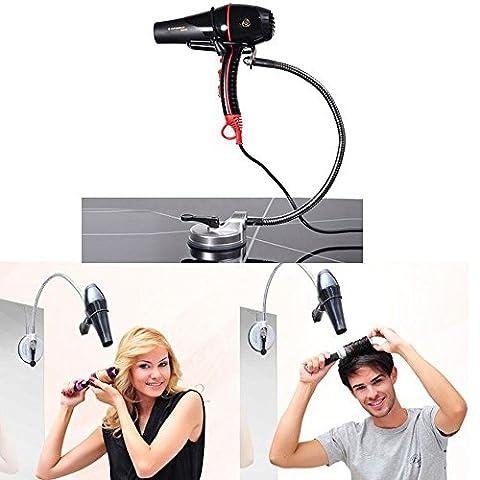 Titulaires de sèche-cheveux, SUNNIOR Sèche-cheveux réglable en acier inoxydable en métal avec des ventouses pour mur / verre / tuile, tube rotatif 360, libre de vos mains et vous permettent de faire une forme satisfaisante
