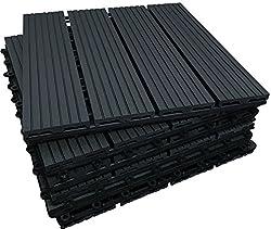 The Famous Click-Deck Composite Decking Tiles - Patio, Balcony, Roof Terrace, Hot Tub Deck Tiles Flooring Decking (36x Composite Tiles)