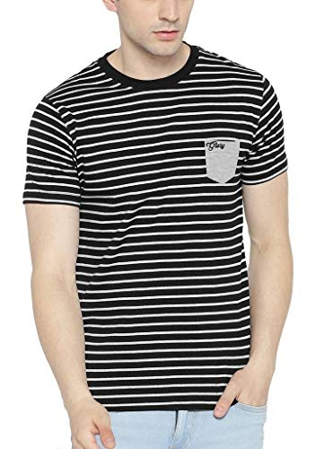 Dream of Glory Inc. Men's Branded Half Sleeve Cotton Striped Round Neck T-Shirts for Men Also in Plus Sizes : XS-9XL (Pack of 1)