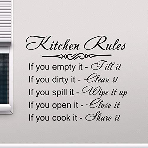 Pbldb 65X57 Cm Küche Regeln Wandtattoo Dekor Zeichen Zitat Vinyl Aufkleber Poster Home Geschenke Abnehmbare Kunstwandhaupt Dekoration Wandtattoos