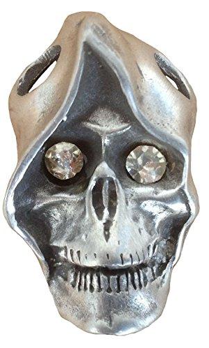 Ticila Unisex Damen Herren Anhänger Chrom Mode Schmuck SKULL MONK Glas Diamant Strass Auge Alt Silber (Gläser Augen Mode)