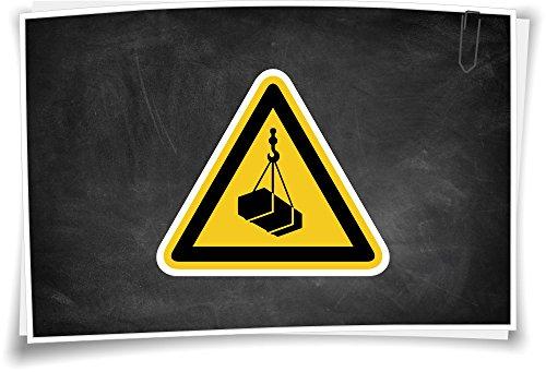 Warnhinweis W015 Warnung vor schwebender Last Aufkleber Piktogramm Warnzeichen, 5cm - 3 Stück