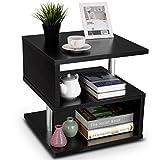 COSTWAY Beistelltisch, Sofatisch schwarz, Kaffeetisch 3 Ebenen, Telefontisch aus Holz und Metall, Nachttisch 50x50x50cm