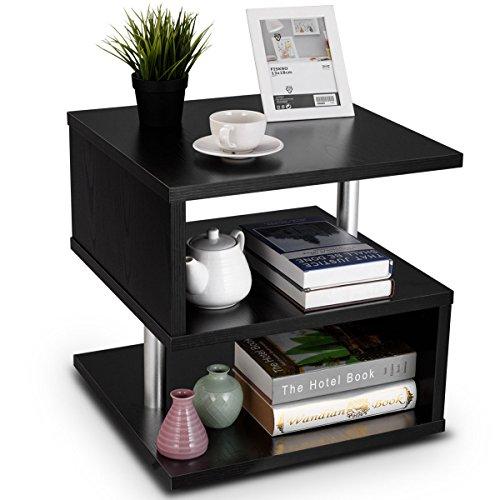 COSTWAY Beistelltisch schwarz, Sofatisch aus Holz und Metall, Kaffeetisch 3 Ebenen, Telefontisch quadratisch, Nachttisch 50x50x50cm -