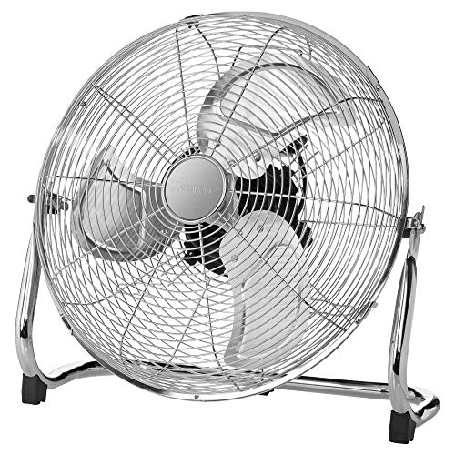 Clatronic VL 3731 WM Ventilator, Windmaschine, XXL Durchmesser (50cm), Metall-Chrom, ruhiger Lauf, extra große Metallflügel für mehr Luftumwälzung