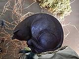 Katzenurne aus Keramik, veredelt mit Seidenpapier, schwarz, Vol. ca. 0,70 Ltr.