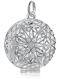 BODYA plateado plata marco de fotos de diseño de la estrella de la flor hueco redondo colgante de collar del encanto de ninguna cadena