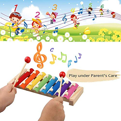 Kids Musical Instruments Set with Xylophone,18pcs Music Toy Wooden Percussion Instruments for Toddler and Preschool Kids