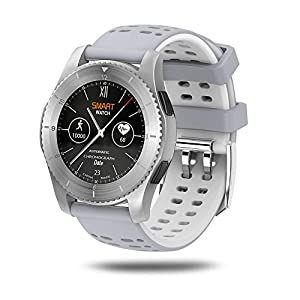 Lixada Smartwatch, BT 4.0 SIM Call Message Push Blood Pressure Heart Rate Monitor Smart Watches for Android IOS Smartphone