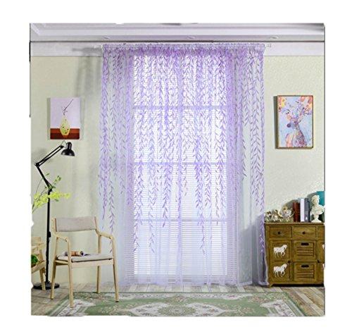 Lila Schals Vorhang (Lalang 1 Stück Ösenschal Deko Ösen Schlaufen Schal Gardine Vorhang Glanz Fenster Flächen Schals, 210*95 cm (Lila))
