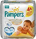 Pampers Sensitive Maxcare Refill - 4 x Pack of 54 (216 Wipes)