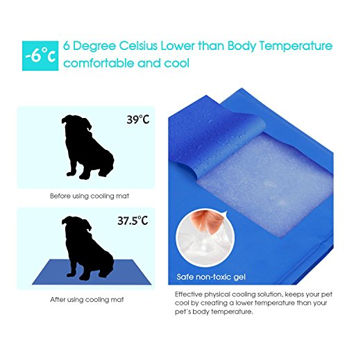 Pecute Dog Cooling Mat Pet Bed Large Gel Pad for Dogs Cats – Perfect for Floors, Couches, Beds, Crates, Kennels or Cars (19.7*35.5inch)
