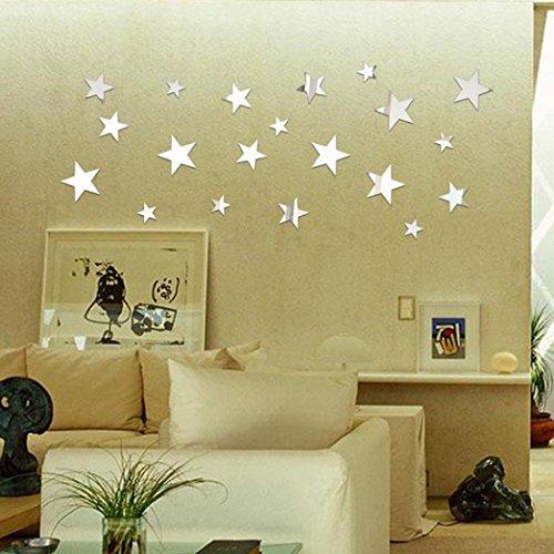 3D Wall Stickers, WYXlink 20 x Stern Kunst Spiegel Wand Aufkleber Acryl Oberfläche Home Zimmer DIY Art Dekor (c) (Spiegel Für Wand-dekor)