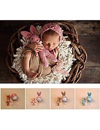 Tenue laine pour séance photo nouveaux nés : modèle doudou lapin + bonnet