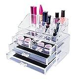 Super Z Outlet Transparent Kosmetik Make-up Acryl Organizer Schubladen Set für Lippenstift, Bürsten, Flaschen, Schmuck und Mehr. Clear Case Display Rack Aufbewahrung Halter (2Stück Set)