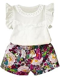 SMARTLADY 2PC /set Chica Niñas Princesa Camisa + Pantalones Cortos