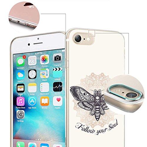 finoo | iPhone 8 Weiche flexible Silikon-Handy-Hülle | Transparente TPU Cover Schale mit Motiv | Tasche Case Etui mit Ultra Slim Rundum-schutz |Schmetterling bunt Follow your Soul Mitte