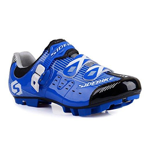 TXJ Unisexe Respirant Chaussures de vélo Professionnels pour VTT (SD-003 Bleu/Noir pour Le VTT, EU 43/Ft 27.5cm)