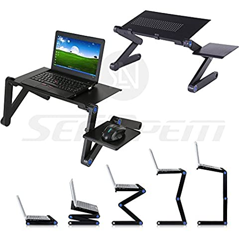 Upgrade Laptop Bed Tray Table w/ Mouse Pad 42 - 48CM, Adjustable Laptop Stand, Portable Standing Desk, With Foldable Legs, Foldable Sofa Breakfast Table, Notebook Stand Reading Holder For Couch Floor Kids - Price Xes (BLACK 42CM)