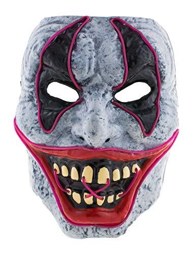 costumebakery - Kostüm Accessoires Zubehör Herren Horror Clowns Maske mit Licht, Clown Mask with Light, perfekt für Halloween Karneval und Fasching, ()