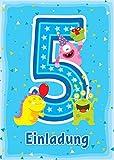 12 Einladungskarten zum 5. Kindergeburtstag blau / schöne Einladungen zum Geburtstag für Mädchen und Jungen