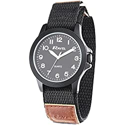 Ravel Easy Read Work Watch with Fast Fit Action Grip Velcro Strap Men's Quartz Watch with Black Dial Analogue Display and Black Nylon Strap R1601.60.33