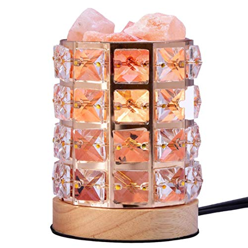 Himalaya Natural Salt Lamp Crystal Chunks In Iron Art Diamond Cylinder Rotary Switch Adjusts Brightness Home Decoration and Creative Household Light -