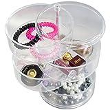 Oxid7® Organizer für Kosmetik rund Acryl | Aufbewahrungsbox für Make Up und Schmuck | Schmuckkästchen | Schubladenbox Schminke - 17,6x11,5x11,5 cm mit 4 Ebenen