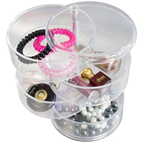 Maquillage en acrylique et bijoux avec 4 sections rotatif Transparent Cosmétique de stockage de boîte de cas