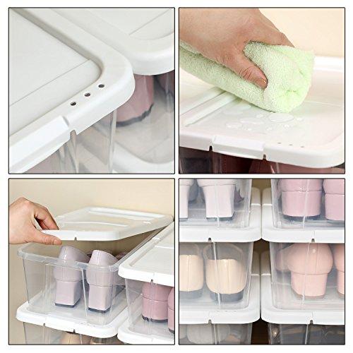 SONGMICS Juego de 12 Cajas de Zapatos con Tapa Organizador de Almacenamiento versátil Organizador apilable Producto de artesanías LSP12WT