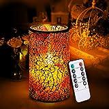 KINGSO LED Mosaik Flammenlose Kerzen mit Fernbedienung & Timer batteriebetrieben Kerze Tischlampe für Zuhause Garten Café Bar Party Geburtstag Festival Hochzeit Weihnachten winerot