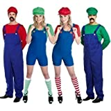 Couples Adults Mens & Ladies Mario AND Luigi 80s Plumbers Videogame TV Film Fancy Dress Costumes Party Outfits Plus Size (UK 8-10, Red)