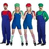 Paar Erwachsene Herren & Damen Mario und Luigi 80s Jahre Klempner Videospiel TV Film Kostüm Party Outfits Übergröße - Grün, 12-14