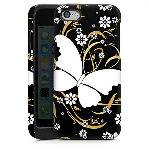 Apple iPhone 4 Housse Étui Silicone Coque Protection Papillon Fleur Fleur Cas Tough brillant
