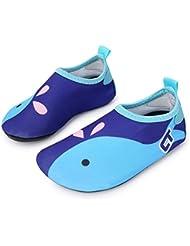 Fortuning's JDS Dibujos animados multifuncional descalzo niños zapatos de agua ligero surf buceo nadando natación Aqua calcetines