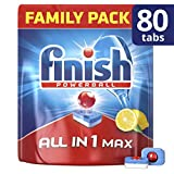 Finish Dishwasher Tablets, All in 1 Max Lemon, 80-Count