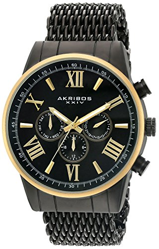 Akribos XXIV Men's Swiss Quartz Multi-Function Gold-Tone Sunray Dial on Gold-Tone Shark Mesh Stainless Steel Bracelet Watch AK919BKYG