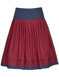 Herbstrock Damen Trachten-Rock Knielang Baumwolle - dunkelrot Oktoberfestbekleidung 100% Baumwolle Toller Hüftschwung