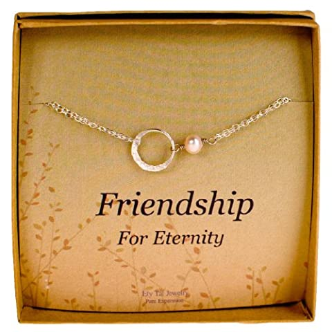 Friendship Bracelet, Sterling Silver Eternity Karma Circle with Cultured Pearl by Efy Tal Jewelry