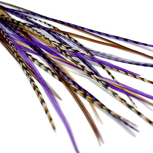 Auburn Extensions de cheveux en plumes véritables – Violet