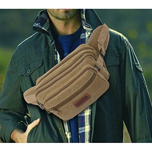 Outreo Gürteltasche Sport Hüfttaschen Herren Kleine Tasche Sporttasche Bauchtasche Outdoor Geldbeutel Vintage Reisetaschen Brusttasche Wander Beige