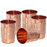 Dakshcarft ® Handmade Pure Copper Tumbler Glass, Set of 5 Glasses