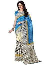 Venisa Women's Bhagalpuri Cotton Silk Saree With Blouse Piece (Venisa Abha 1004,Multicolor,Free Size)