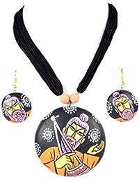 Nisuj Fashion's Terracotta Jewelry Sets For Women|Black & Orange|Traditional Sets|Latest Design|Low Price