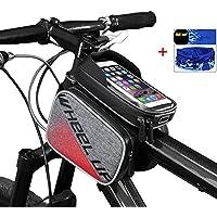Ciclismo marco Pannier Celular Teléfono Bolsa, zhixie bicicleta tubo superior delantera pantalla táctil bolsa para sillín de bicicleta de montaña carretera bicicleta paquete bolsa de doble pantalla plana bolsas de teléfono para Smartphone para iphone8,7,6 Samsung  Rojo
